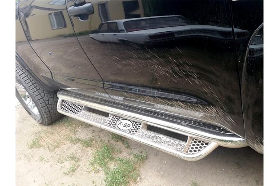 Пороги фигурные d-76+43 с нерж. листом (для Toyota Tundra      Double Cab)