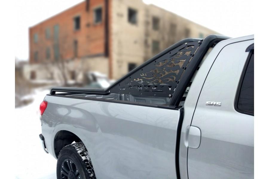 """Дуга в кузов """"Стандарт""""d-76, вставка-пламя, сталь, окрашенная порошковой краской, цвет-черный (для Toyota Tundra Double Cab Long)"""