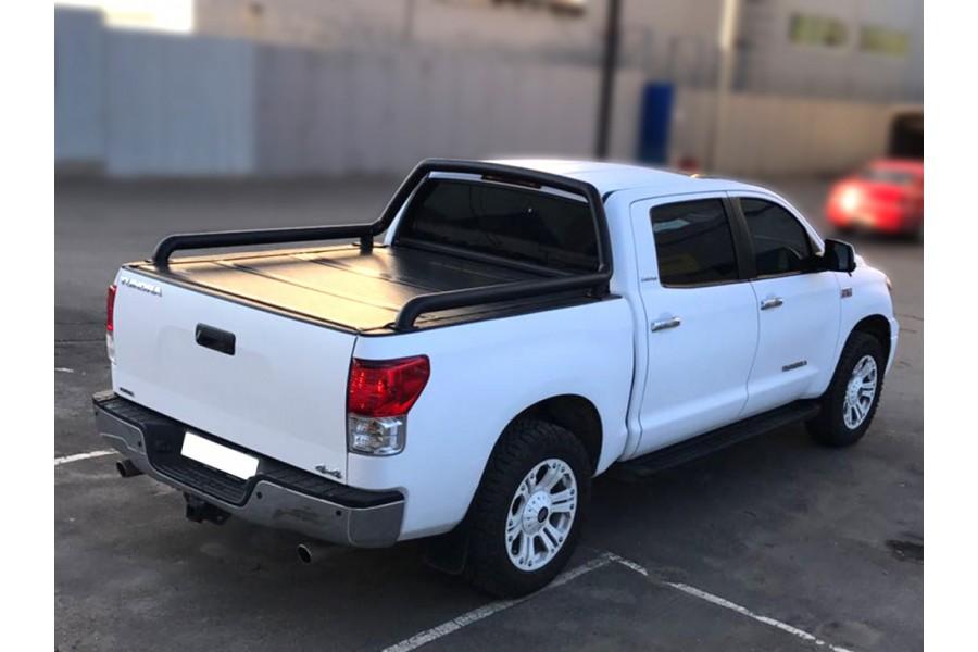 Дуга в кузов одинарная d-76, сталь, окрашенная порошковой краской, цвет-черный (для Toyota Tundra Double Cab) возможна установка с крышкой кузова Backflip-2