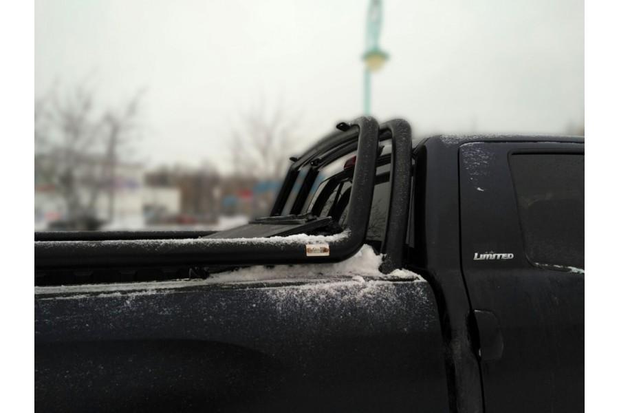 Дуга в кузов двойная d-76, сталь, окрашенная порошковой краской, цвет-черный (для Toyota Tundra Double Cab) возможна установка с крышкой кузова Backflip-2