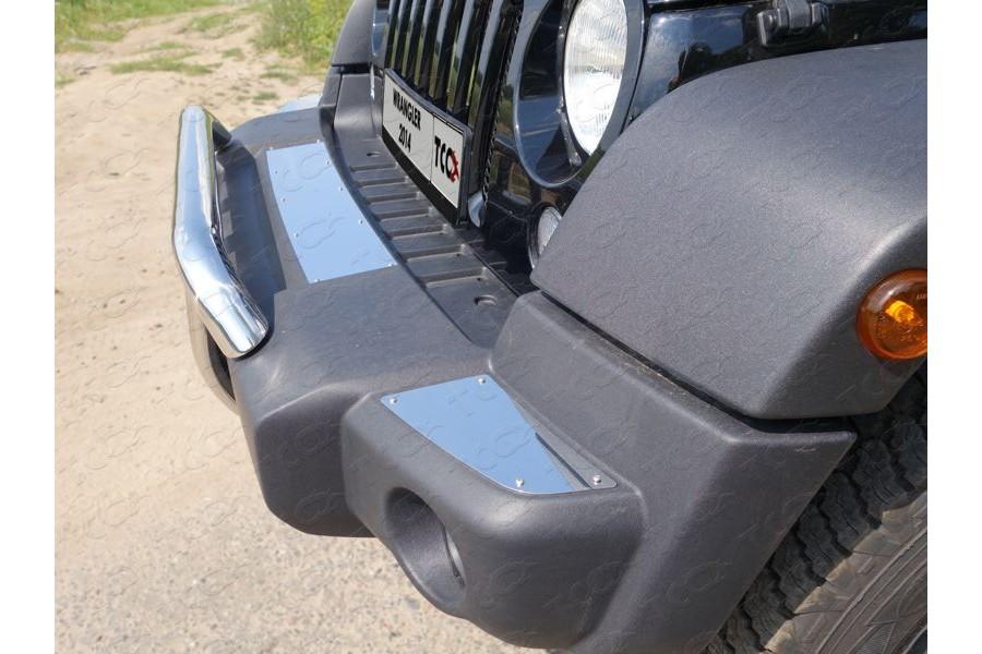 Накладки на передний бампер (зеркальные) (комплект 3 шт.)