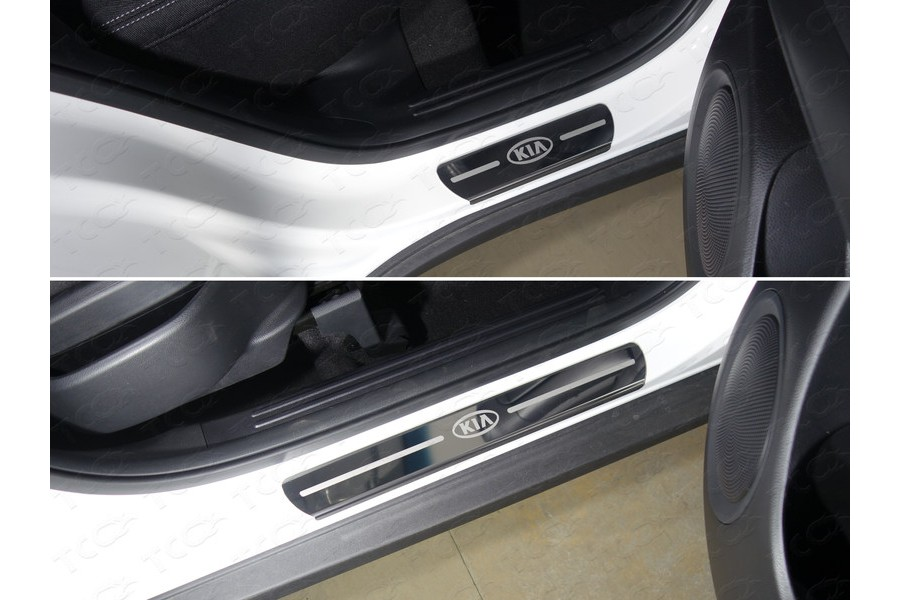 Накладки на пороги (лист зеркальный логотип Kia) 4шт
