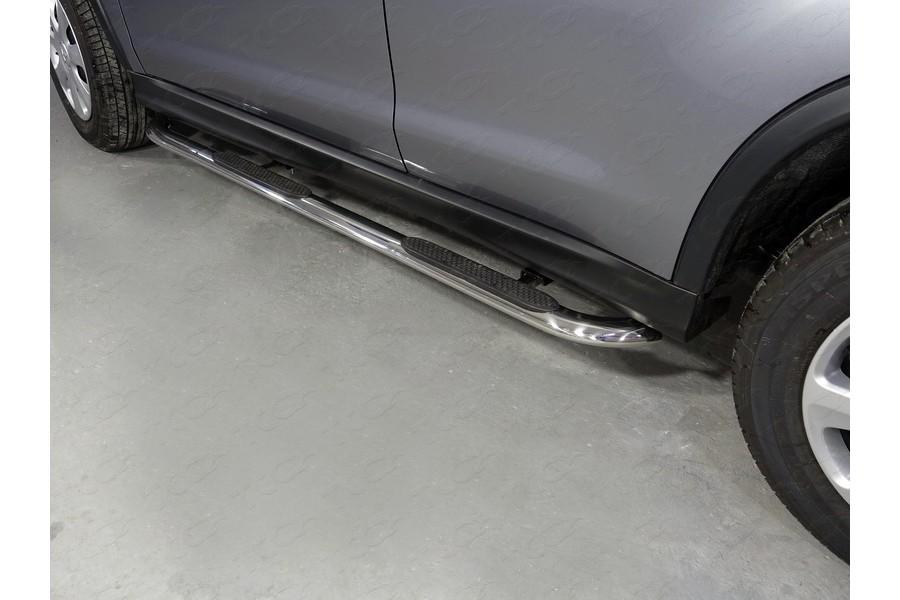Пороги овальные гнутые с накладкой 75х42 мм