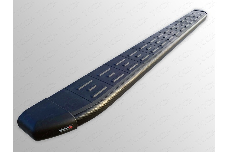 Пороги алюминиевые с пластиковой накладкой (карбон черные)1720 мм