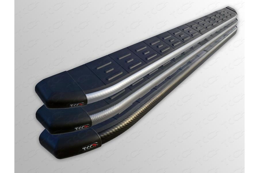 Пороги алюминиевые с пластиковой накладкой (карбон черные)  1820 мм
