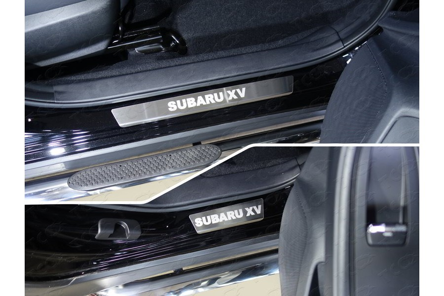 Накладки на пороги (лист шлифованный надпись Subaru XV) 4шт