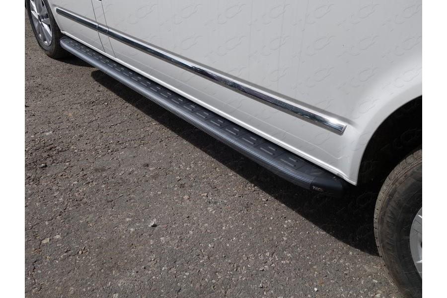 Пороги алюминиевые с пластиковой накладкой (карбон черные) 2520 мм