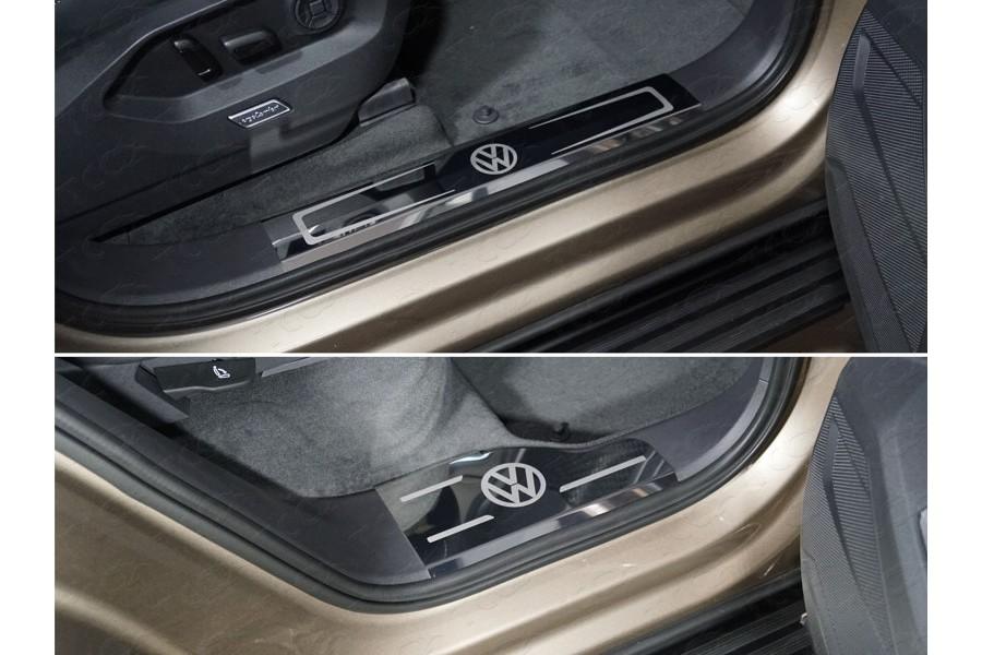 Накладки на пластиковые пороги (лист зеркальный логотип VW) 4шт