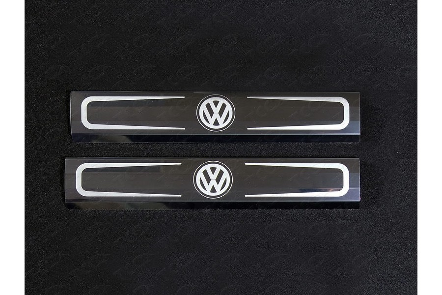 Накладки на пороги внутренние (зеркальные надпись логотип Volkswagen)