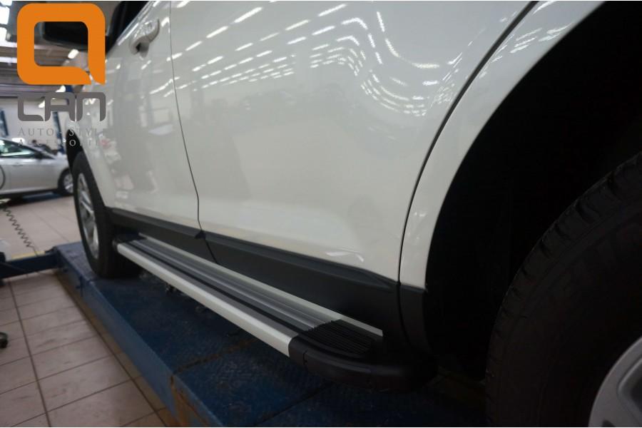 Пороги алюминиевые (Brillant) Ford Edge (2014-) (серебр)