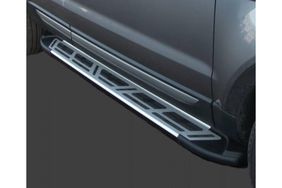 Пороги алюминиевые (Corund Silver) Hyundai Santa Fe (Хёндай Санта Фе) (2006-2010-2012) кроме Тагаз