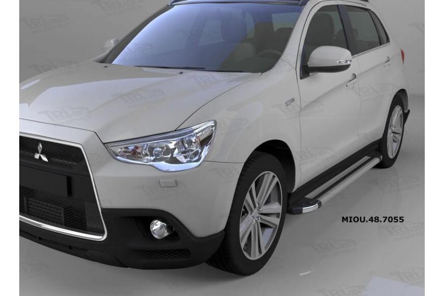 Пороги алюминиевые (Brillant) Mitsubishi Outlander (Митсубиши Аутлендер) (06-12;12-;15-)/ASX (2010-)/Peugeot (Пежо)4007/4008 серебр
