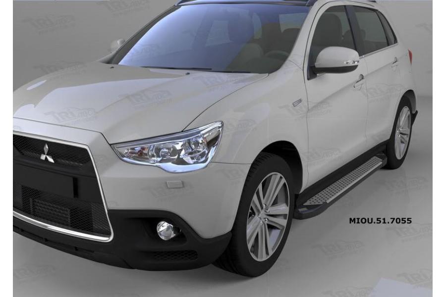 Пороги алюминиевые (Sapphire Silver) Mitsubishi Outlander (Митсубиши Аутлендер) (06-12;12-;15-)/ASX (2010-)/Peugeot (Пежо)4007/4008