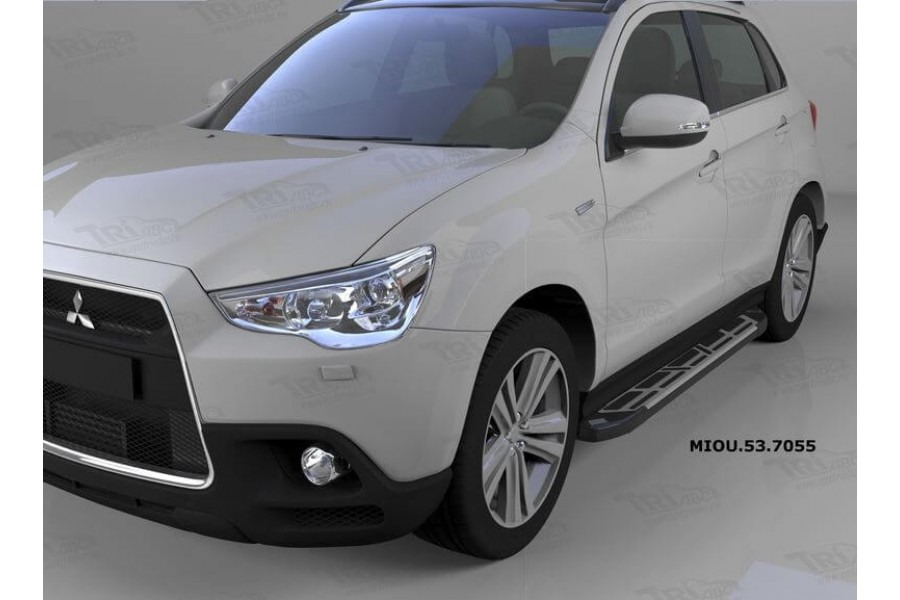 Пороги алюминиевые (Corund Silver) Mitsubishi Outlander (Митсубиши Аутлендер) (06-12;12-;15-)/ASX (2010-)/Peugeot (Пежо)4007/4008