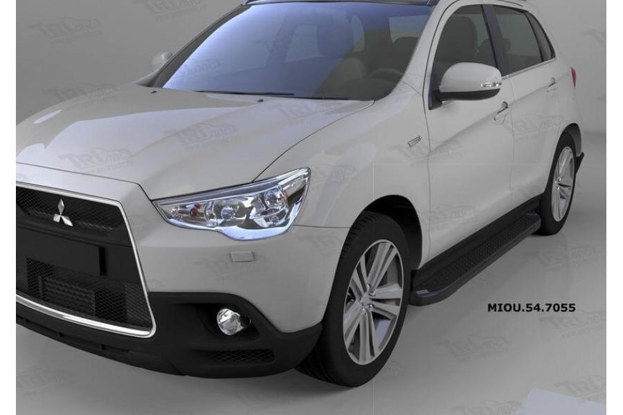 Пороги алюминиевые (Sapphire Black) Mitsubishi Outlander (Митсубиши Аутлендер) (06-12;12-;15-)/ASX (2010-)/Peugeot (Пежо)4007/4008
