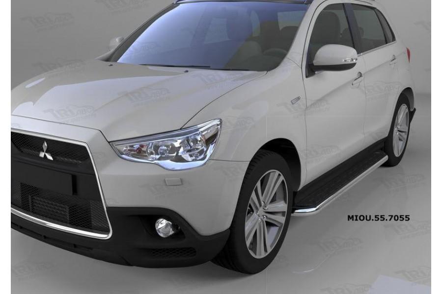 Пороги алюминиевые (Ring) Mitsubishi Outlander (Митсубиши Аутлендер) (06-12;12-;15-)/ASX (2010-)/Peugeot (Пежо)4007/4008
