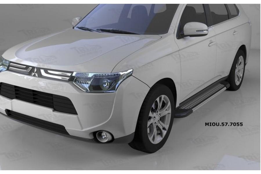 Пороги алюминиевые (Topaz) Mitsubishi Outlander (Митсубиши Аутлендер) (06-12;12-;15-)/ASX (2010-)/Peugeot (Пежо)4007/4008